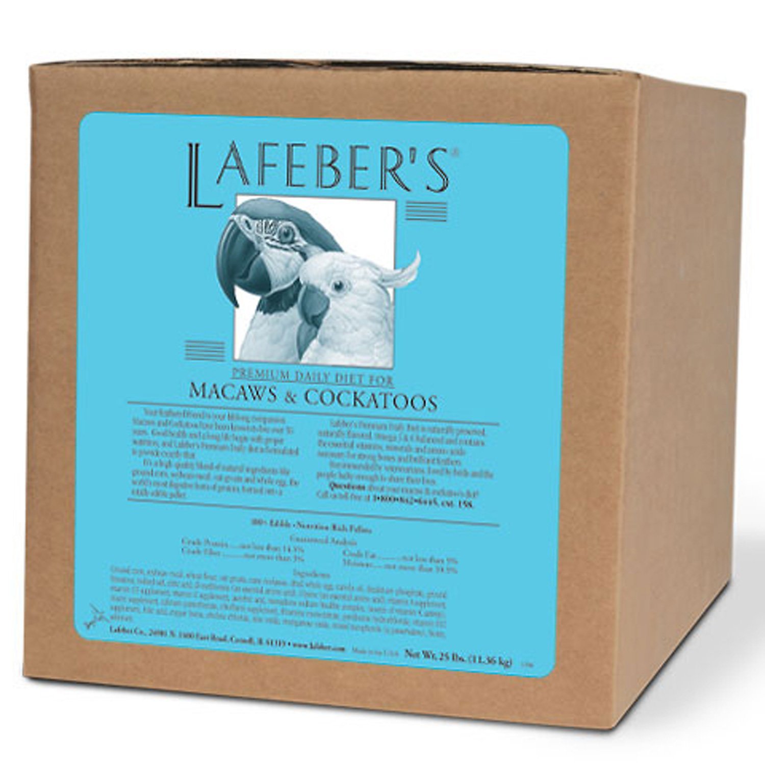 LAFEBER'S Premium Daily Diet Pellets Pet Bird Food, Made with Non-GMO and Human-Grade Ingredients, for Macaws and Cockatoos, 25 lbs by LAFEBER'S