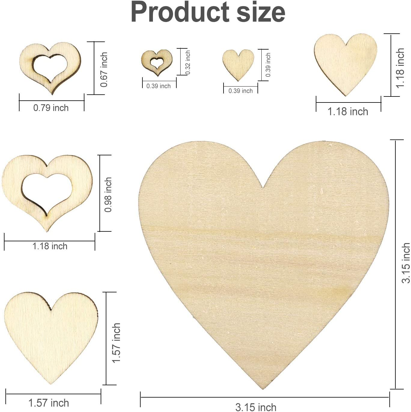 HOWAF Heart Shaped Wood Chip Set for Party Favours