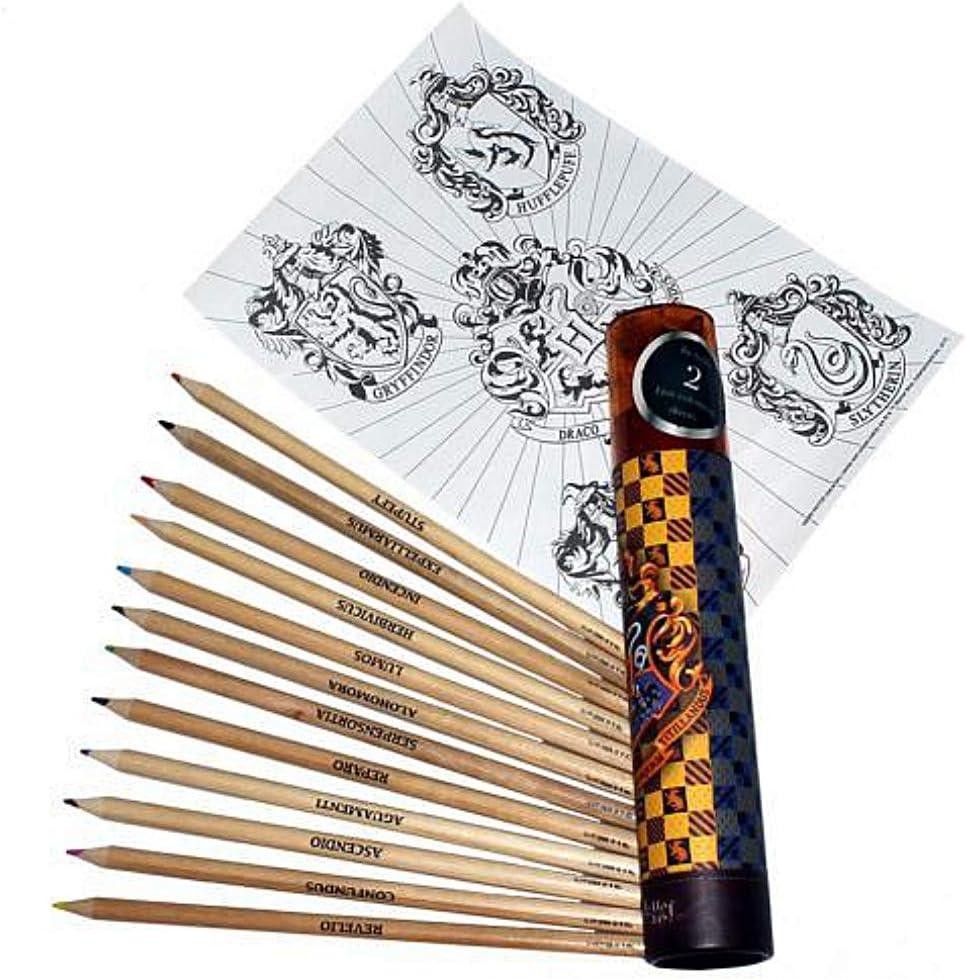 Harry Potter Hogwarts - Juego de 12 lápices para colorear: Amazon ...