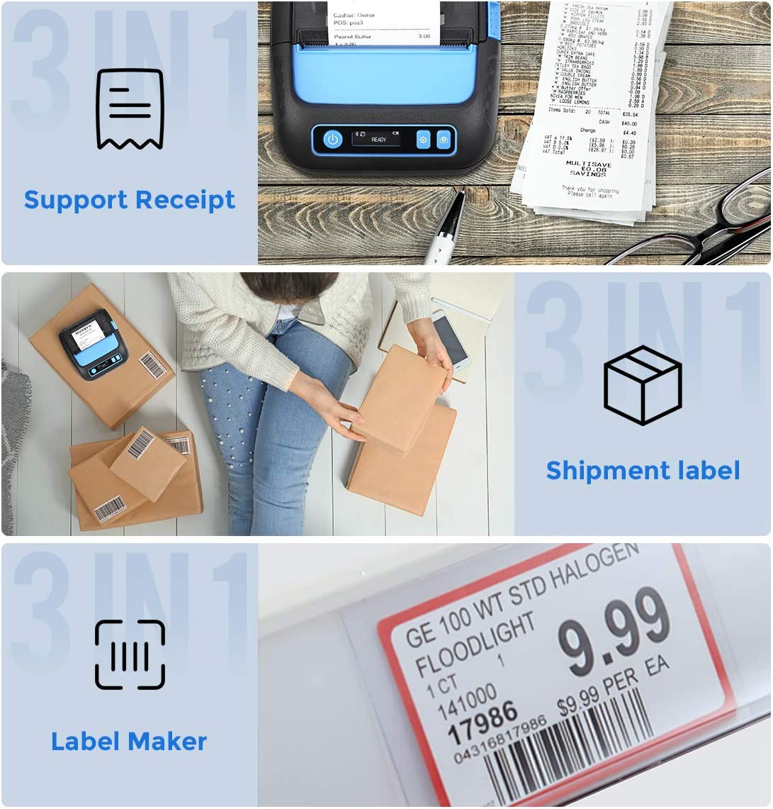 MUNBYN 3 Inches Thermal Label Printer, 80mm Receipt Label Sticker Wireless Bluetooth Shipment Printer, Mobile Printer Supported ESC/POS/TSPL/CPCL ...
