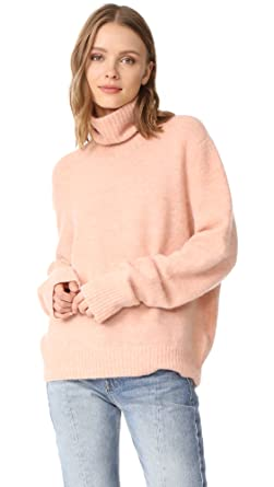 FRAME Women's Slouchy Turtleneck Sweater, Dusty Pink, Medium at ...