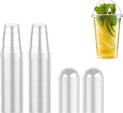 Drinks Clear Pet Plastic Cups Strong Cups with Dome Lids 12oz // 16oz Sizes 50 X Smoothie Cups with Dome Lids for Juice Sweets ice-Cream Anf Many More 12oz Milkshake