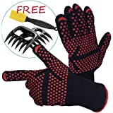 BBQ Grill Gloves, Oven Heat Resistant Gloves Grilling Mitts Set Cooking Gloves with Meat Shredder Claws and Silicone Basting Brush, BBQ Accessories for Baking Barbecue Smoker Kitchen and Outdoor Cook