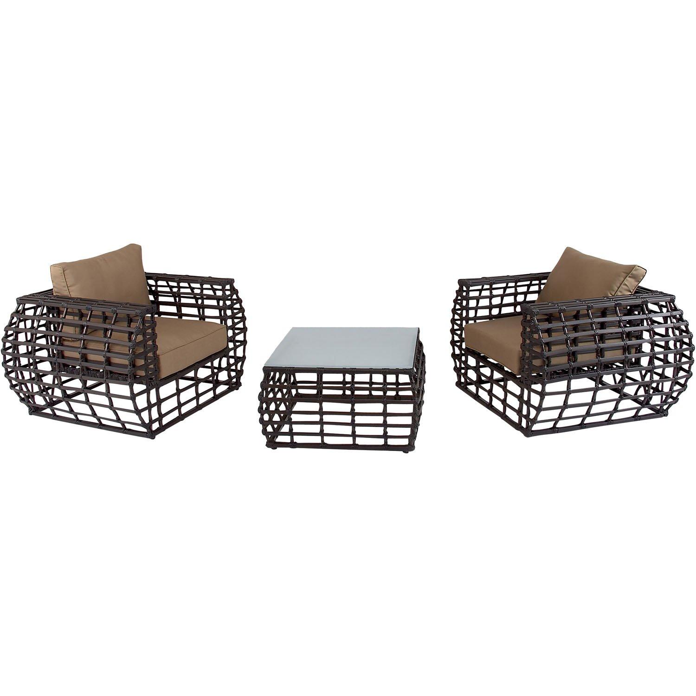 Captivating Amazon.com : Hanover Outdoor Furniture Soho 3 Piece Modern Lounge Set,  Brown/Beige : Garden U0026 Outdoor