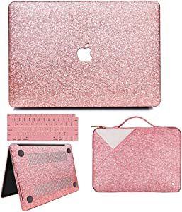 MacBook Air 13 Inch Case 2020 2019 2018 Release A2179 A1932, Anban Glitter Bling Smooth Protective Case & Glitter Laptop Sleeve & Keyboard Cover Compatible for MacBook Air 13 Inch with Touch ID