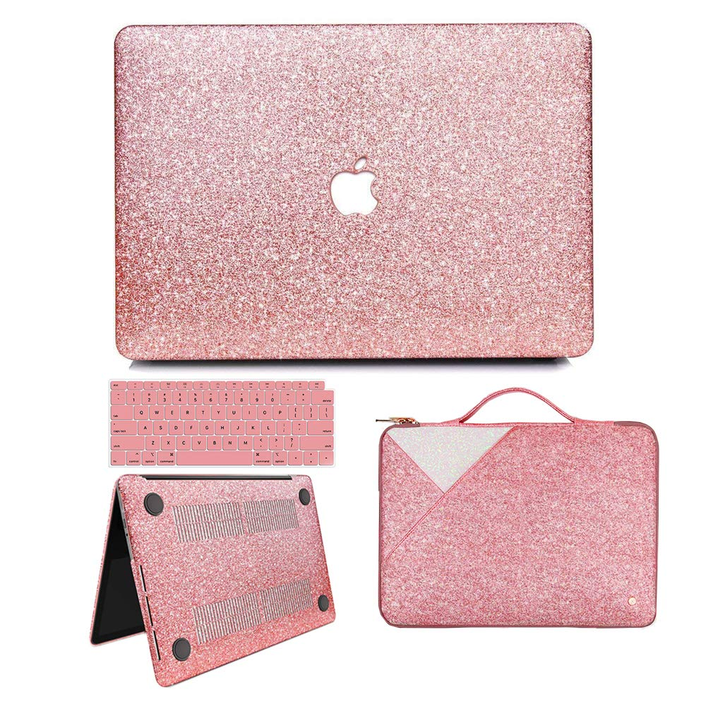 MacBook Air 13 Inch Case 2018 Release A1932, Anban Glitter Bling Smooth Protective Case & Glitter Laptop Sleeve & Keyboard Cover Compatible for MacBook Air 13 Inch with Touch ID by anban