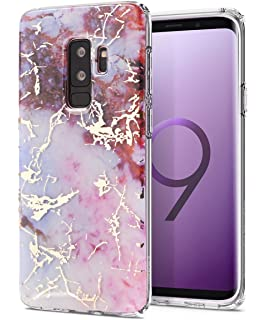 best service ecbab 304c4 Amazon.com: Galaxy S9 Plus Case, Shiny Rose Gold White Marble Design ...