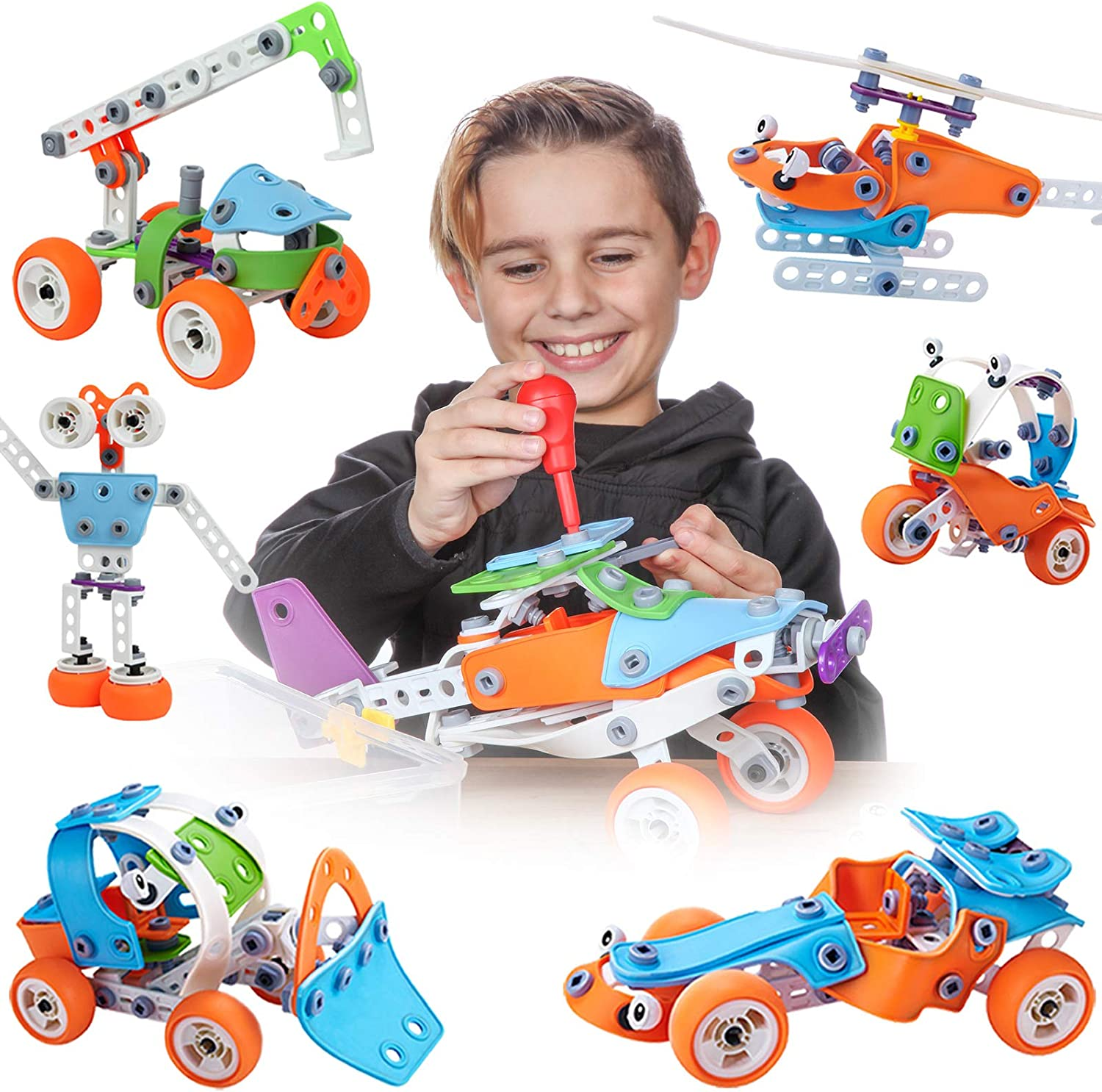 Amazon Com Toy Pal Stem Toys For 6 8 Year Old Boys Girls 7 In 1 Engineering Building Set 163 Pc Educational Construction Kit For Kids Ages 6 12 Fun Birthday Gift Toys Games
