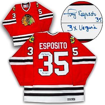 Tony Esposito Chicago Blackhawks Autographed 3 x Vezina Retro CCM Hockey  Jersey d6613e38a