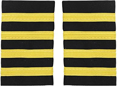 AeroPhoenix FIRST OFFICER AIRLINE EPAULETS SLIDERS  3 BARS GOLD NYLON ON BLACK