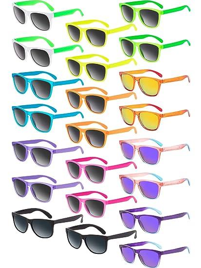 Amazon.com: 22 piezas Retro Neon Gafas de Sol 80s Fiesta ...