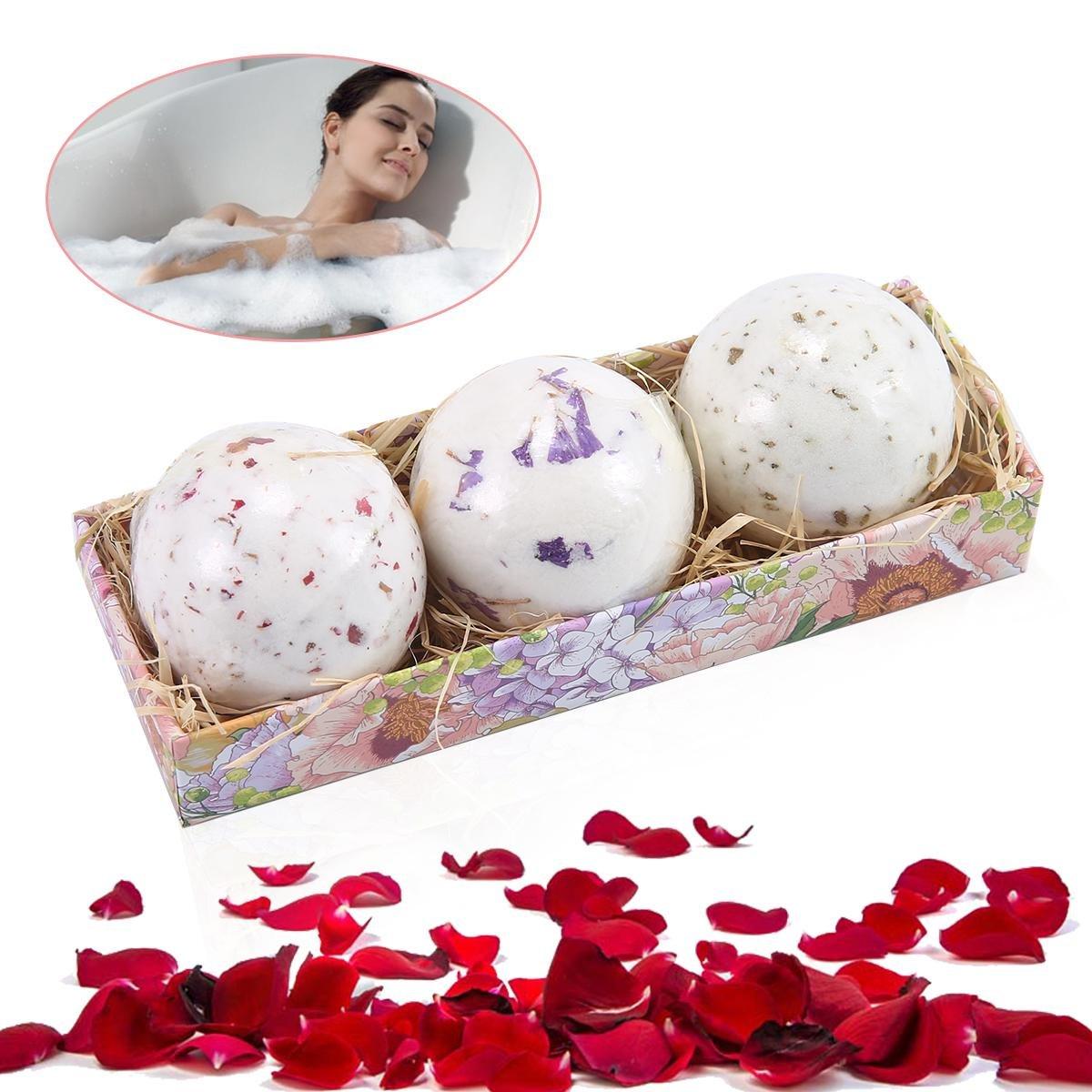 Aolvo bombe da bagno Set regalo, Deep Sea sali da bagno e oli essenziali naturali Dry Flowers rilassamento regali set per donne, ragazzi e ragazze, must-have prodotti per il bagno
