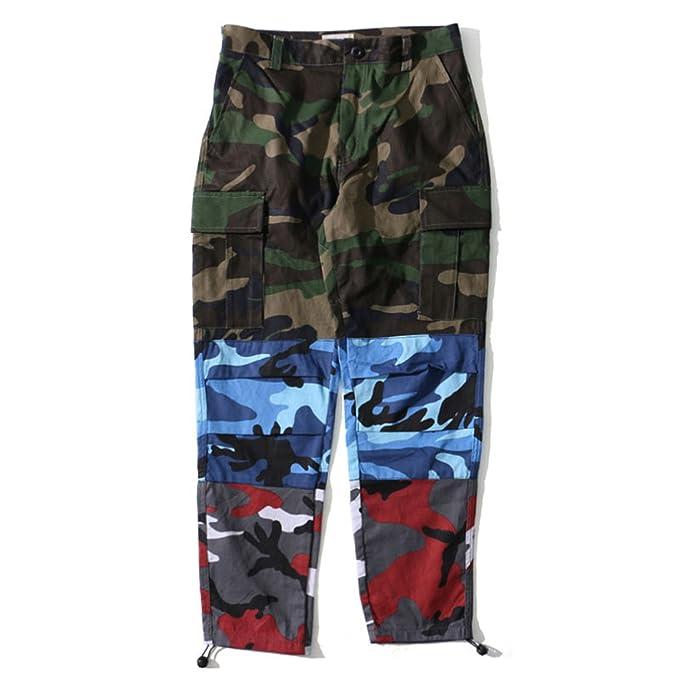 b16f20fdf4 Perfues Patchwork Cargo Pants Men Casual Trousers Streetwear Joggers  Sweatpants,Green,S