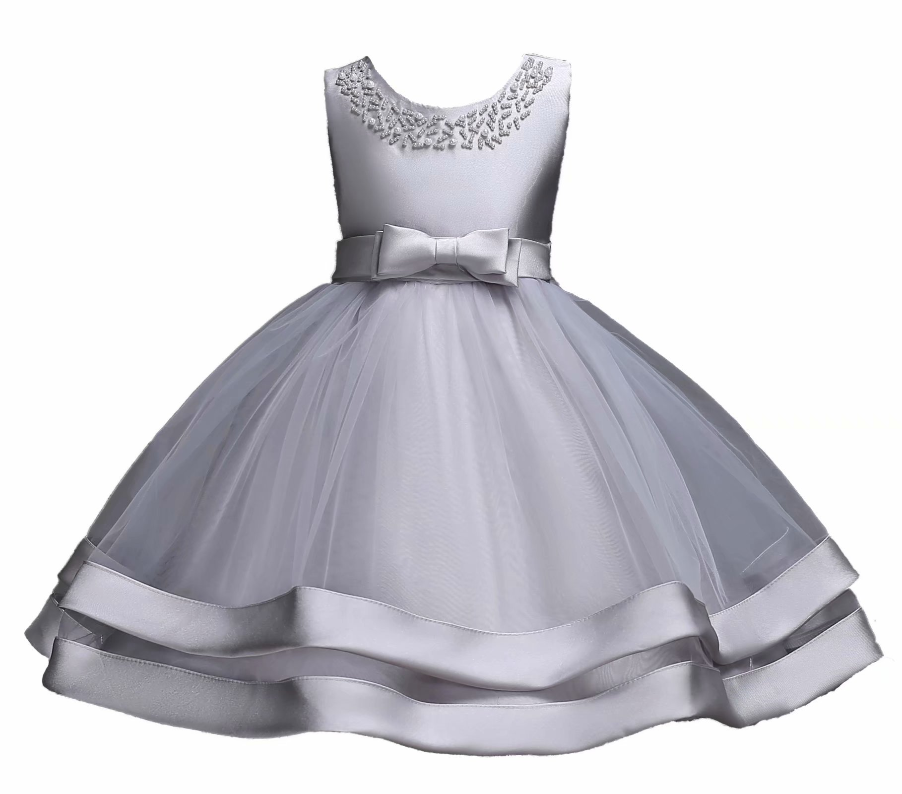 AYOMIS Girls Lace Bridesmaid Dress Wedding Pageant Dresses Tulle Party Gown Age 3-9Y(Gray,8-9Y)