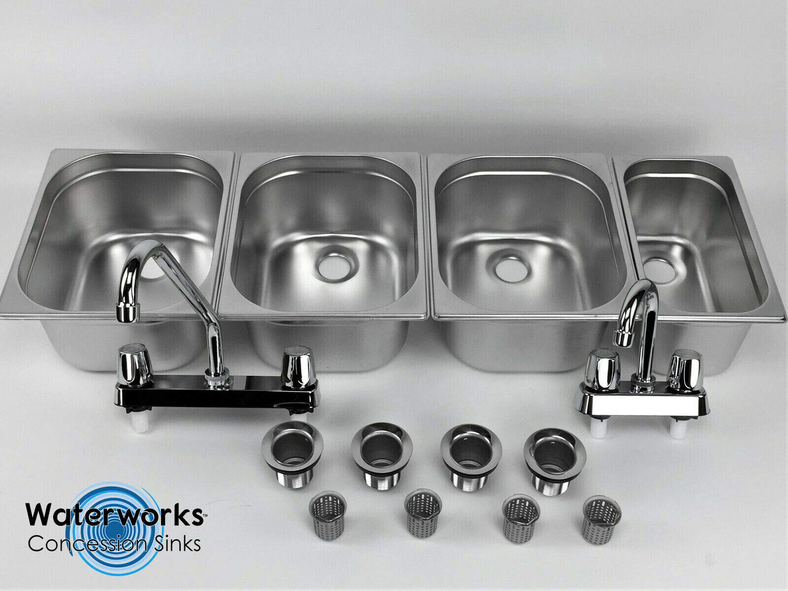 Concession Sink 3 Large + 1 Small Hand Washing- 4 Compartment Stand Food Trailer