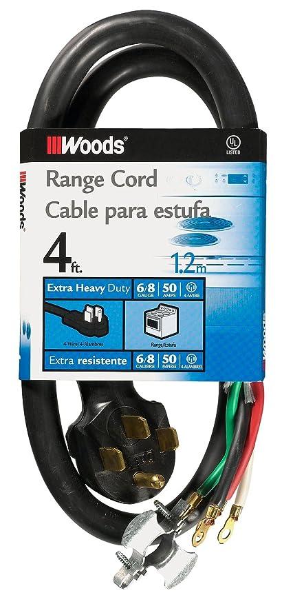 Woods 0761 6/2-8/2 SRDT 50-Amp Range Appliance Power Supply Cord, 4 ...