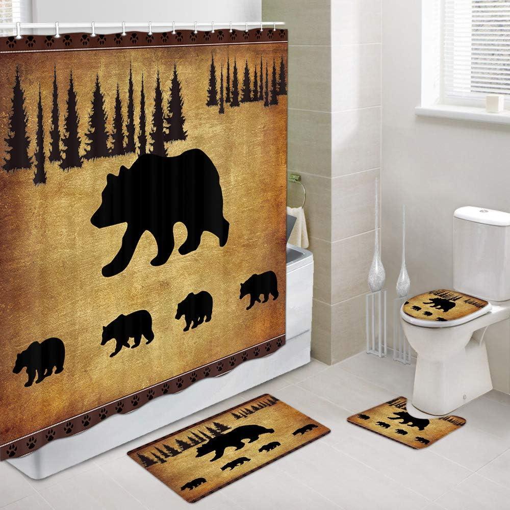 JAWO Black Bear Fabric Shower Curtain and Rugs Set for Bathroom, Rustic Cabin Bears Animal Forest Decor Bathroom Accessories 4 Pcs Set - Bath Curtain + Bath Rug + Toilet Mat + Toilet Pad Cover