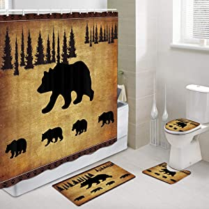 JAWO Black Bear Fabric Shower Curtain and Rugs Set for Bathroom, Rustic Cabin Bears Animal Forest Decor Bathroom Accessories 4 Pcs Set - Bath Curtain + Bath Rug + Toilet Mat + Toilet Pad Cover