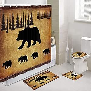 Amazon.com: JAWO Black Bear Fabric Shower Curtain and Rugs Set for Bathroom, Rustic Cabin Bears ...