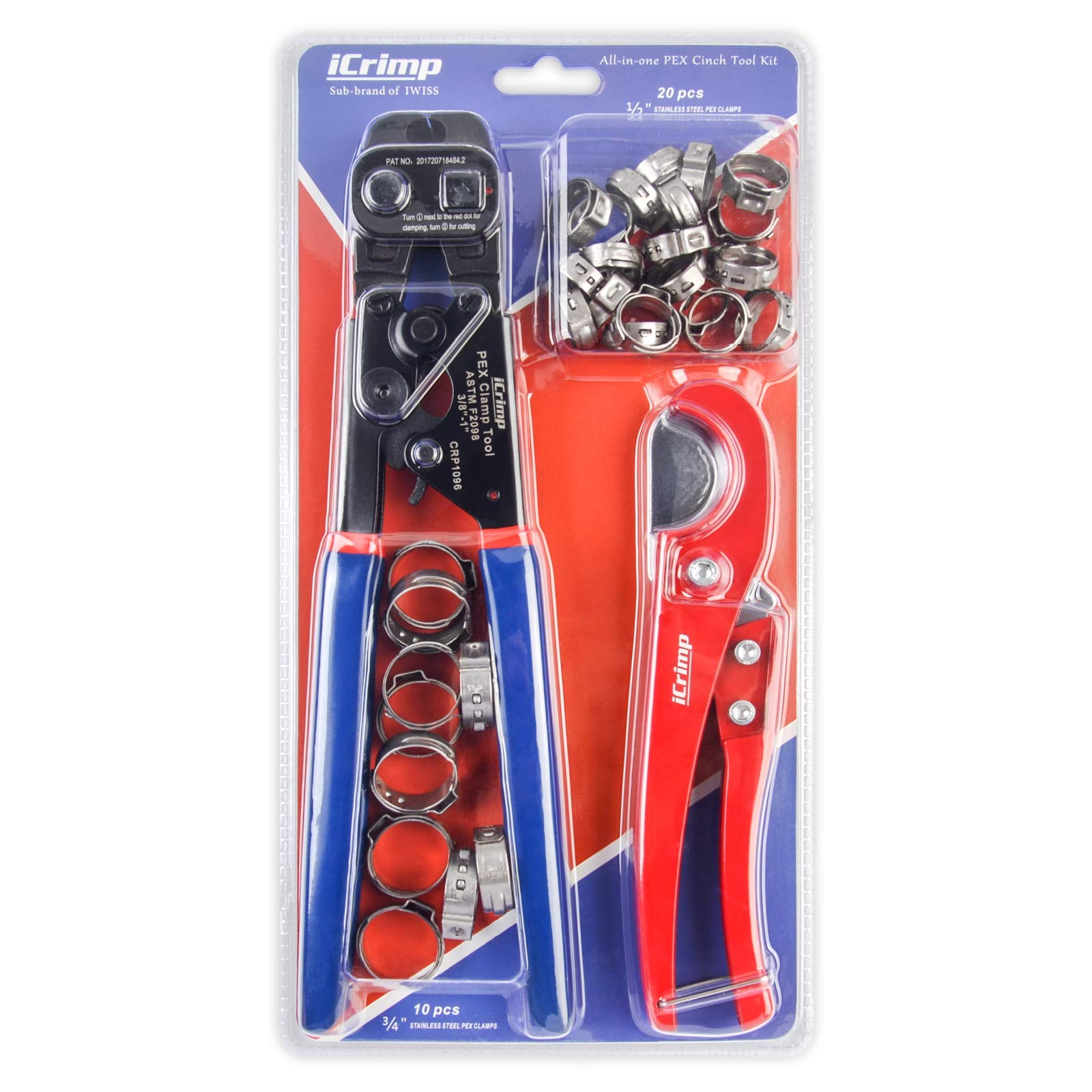 IBOSAD PEX Clamp Cinch Tool Crimping Tool Crimper for Stainless Steel Clamps from 3//8to 1 with 1//2 20PCS and 3//4 10PCS SS PEX Clamps