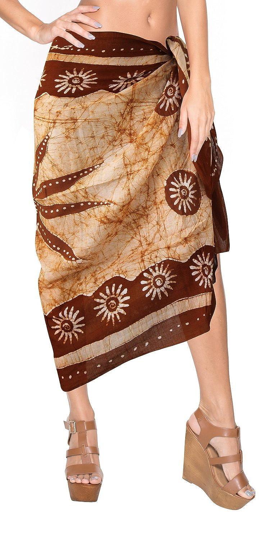 La Leela reiner Baumwolle Flora alle in 1 Damen Lounge Wear/Strand/Badeanzug/Bikinibadebekleidung Batik/verschleiern/sundress/Badeanzug Aloha Hawaii Verpackung Pareo /Sarong Kleid 198x108 cm braun