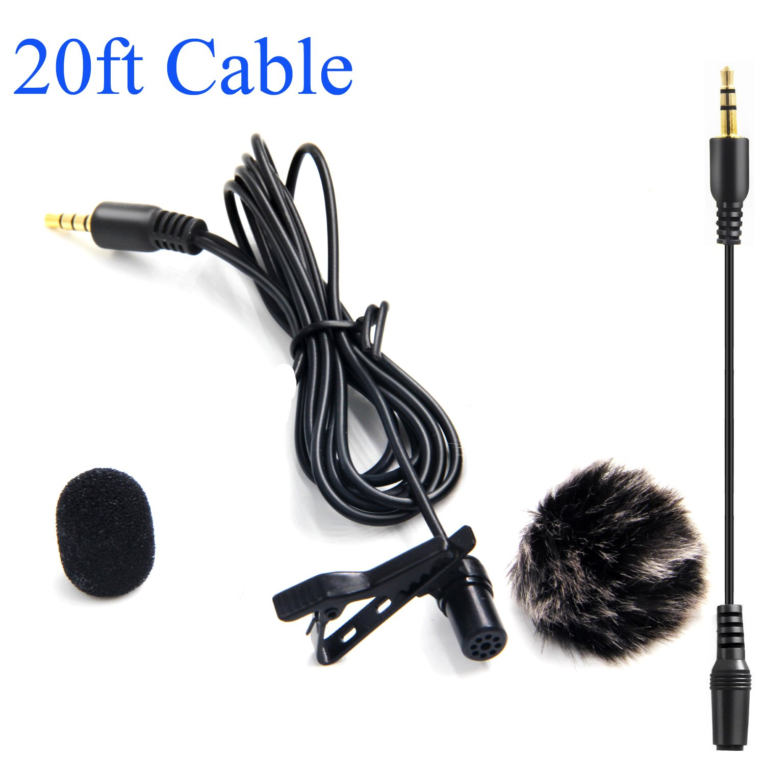 Lavalier Microphone with 1 Windscreen Muff,Nicama LVM3 Lav Lapel Clip-On Mic for DSLR Camera Canon Nikon Sony Camcorder Audio Recorders Smartphones iPhone PC Macbook Podcast by Nicama