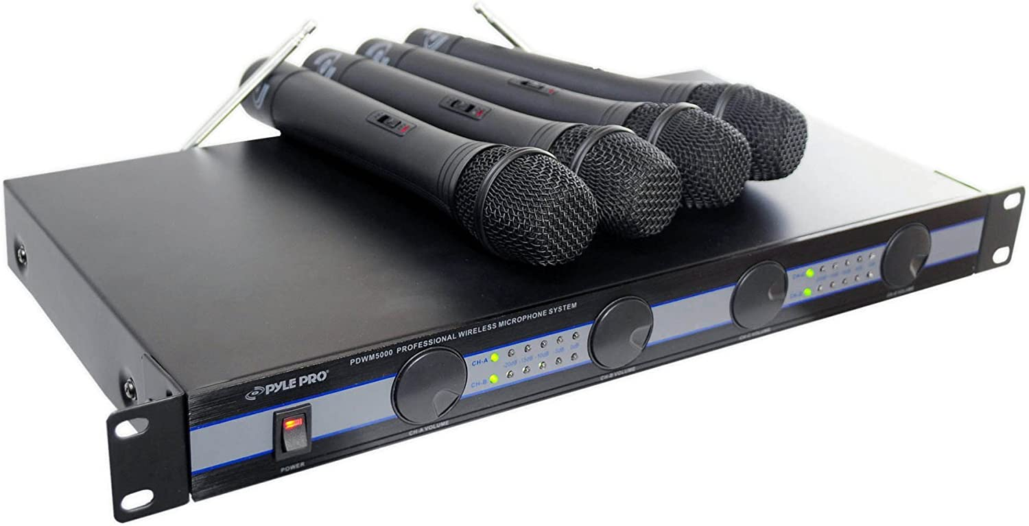 4-PC VHF WIRELESS MICROPHONE SYSTEM - Audio Mute Circuitry for Quiet Operation w/ Advanced Companding Circuitry, Mixed XLR Output for Quality Sound, Includes 4 Wireless Microphones - Pyle PDWM5000