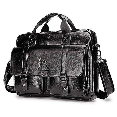 9320767560ee ROULENS Men Leather Messenger Bag,15 inch Waxed Waterproof Laptop Satchel  Bags Genuine Leather Crossbody Shoulder Bags Large Briefcases (Black)