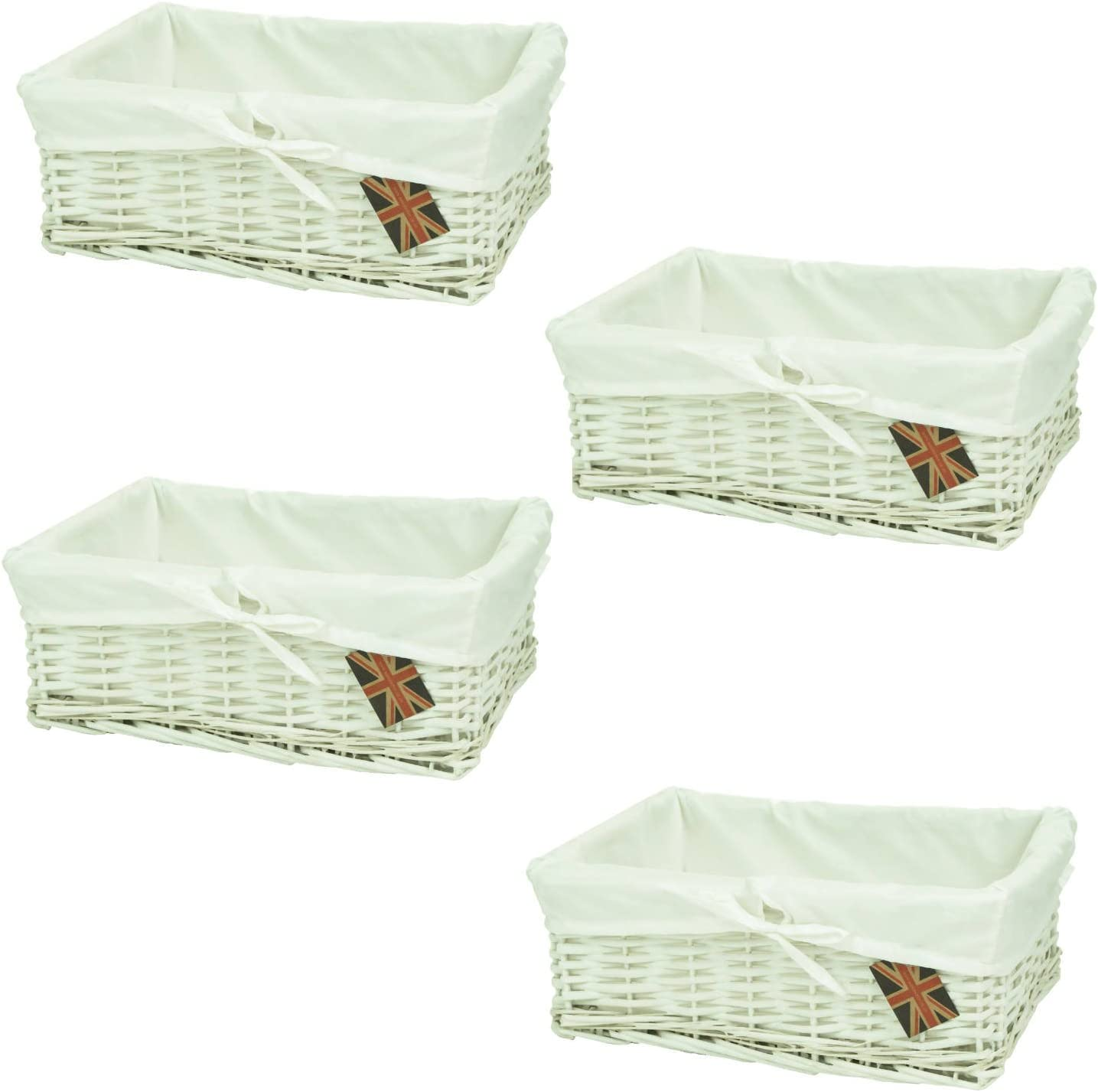 east2eden Shallow White Wicker Storage Basket /& Pure White Lining in Choice of Sizes /& Deals Set of 2 Small