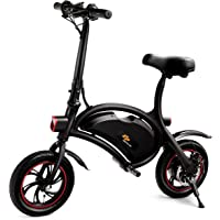 S AFSTAR Safstar Folding Electric Bicycle Lightweight and Aluminum E-Bike 20 mph 12 Mile Range Electric Bike with 350W Powerful Motor and 36V 6Ah Lithium Battery (Black)