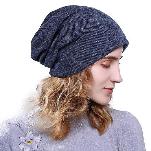 3c1f512dd88 Hunputa Womens Hat Winter Women Fashion Oversized Baggy Hat Knit Wool Winter  Warm Fleece Hat Soft Slouchy Beanie Skully Cap (Navy) at Amazon Women s ...