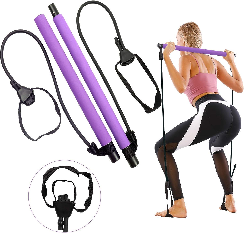 GLKEBY Kit de Barra de Pilates con Banda de Resistencia Ajustable Barra de Pilates portátil para Estiramiento, Yoga, Modelado, Ejercicio, Abdominales, ...