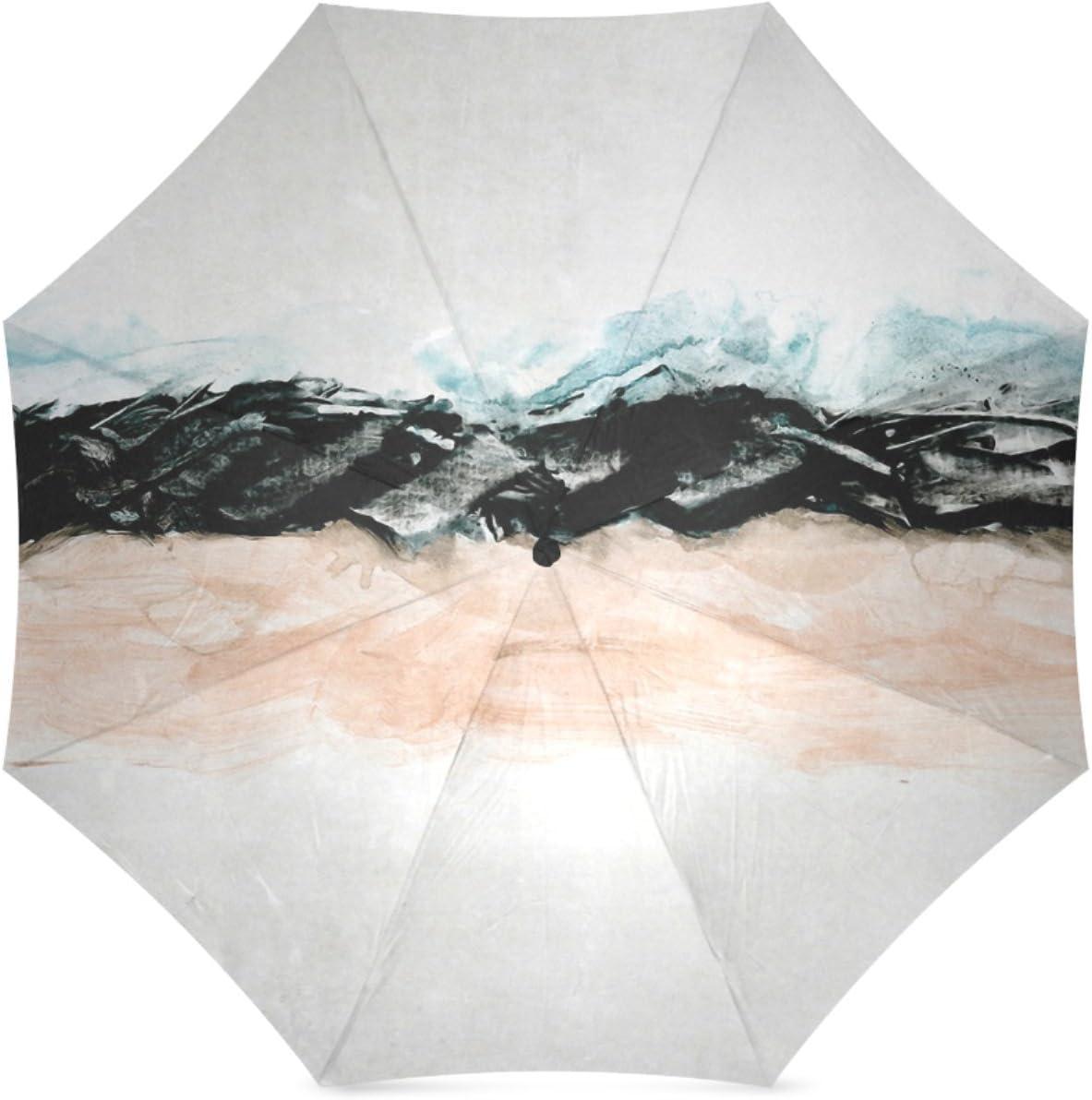 Beautytool Customized Abstract Minimalist Landscape Folding Travel Umbrella
