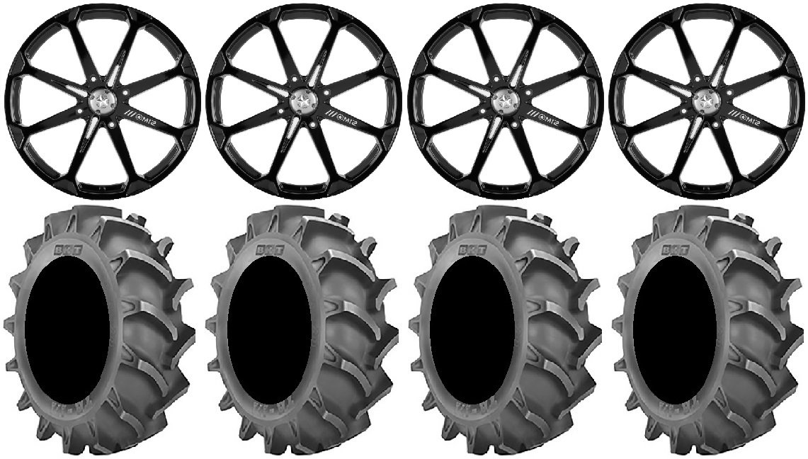 Bundle - 9 Items: MSA Black Diesel 22'' Wheels 37x8.3 BKT 171 Tires [4x156 Bolt Pattern 12mmx1.5 Lug Kit]