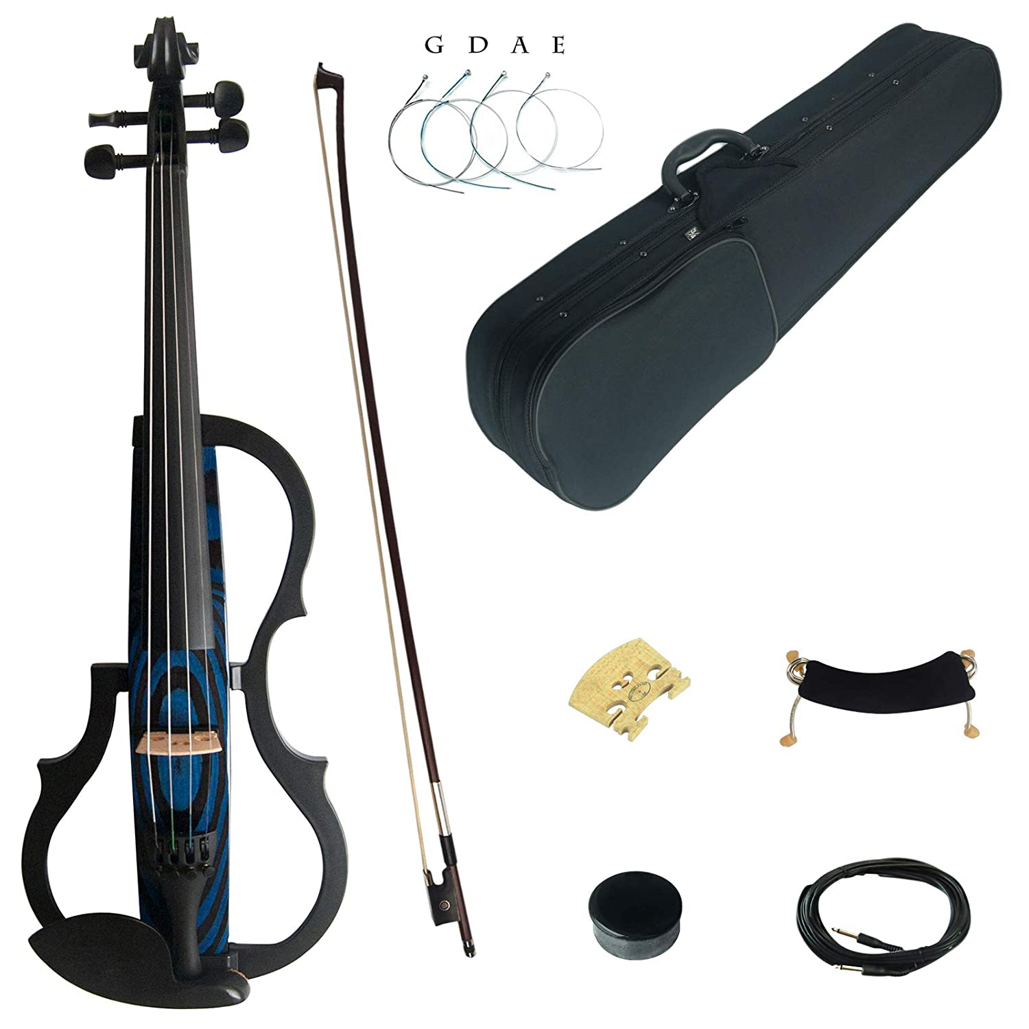 Kinglos 4/4 White Gray Flowers Colored Solid Wood Advanced 3-Band-EQ Electric / Silent Violin Kit with Ebony Fittings Full Size (SDDS1309)
