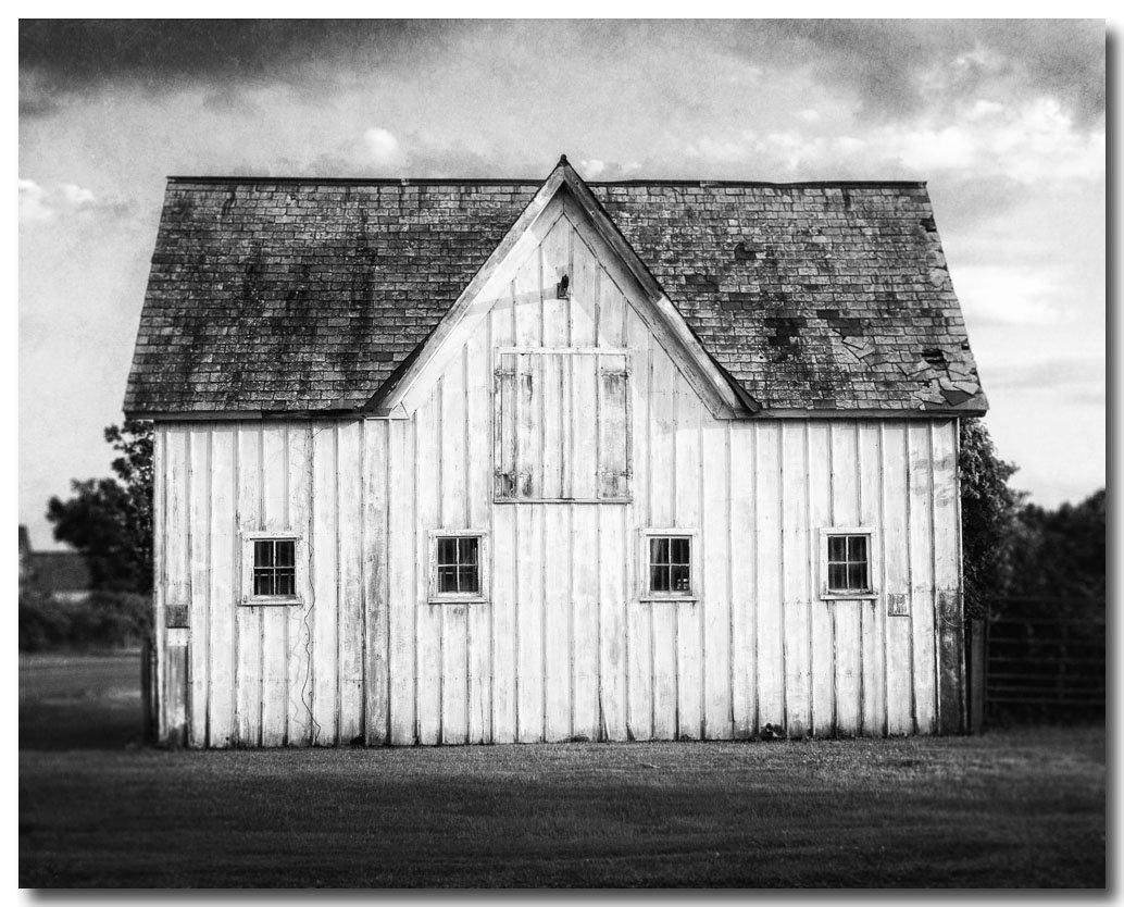 Black and White Barn Landscape Photograph - Rustic Home Decor Barn Art - Farmhouse Decor