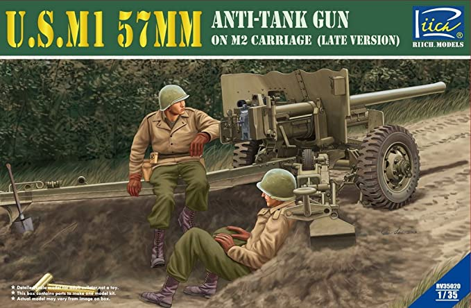 amazon com riich models u s m1 57mm anti tank gun on m2 carriage