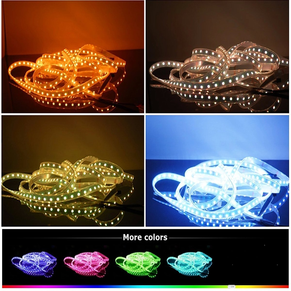 CARYLED 16.4ft 5M Waterproof Rope Lights 300 LED 5050 SMD Color Changing RGB Flexible LED Strip Light + 12V 6A Power Supply + Remote + IR Controller Muliticolored by CYLED (Image #3)