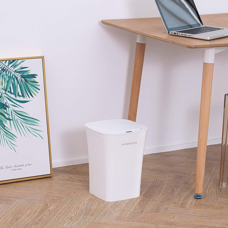 NINESTARS Pattumiera con sensore di Movimento a infrarossi Automatico Touchless 10L,23.5 x 23.5 x 37.2cm Bianco B