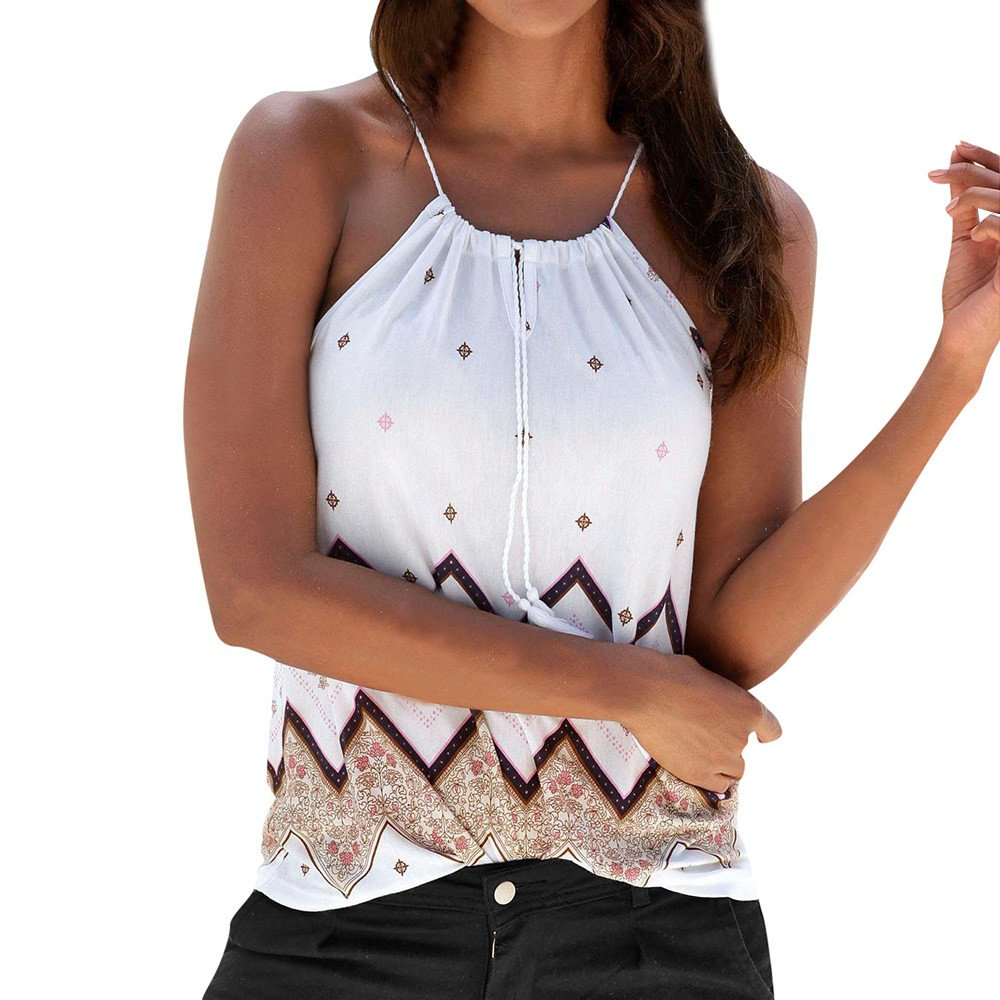 Vickyleb Sexy Vest for Women Bohemian Print Shirt Sleeveless T Shirt Summer Sling Halter Top Casual Tank T-Shirt White