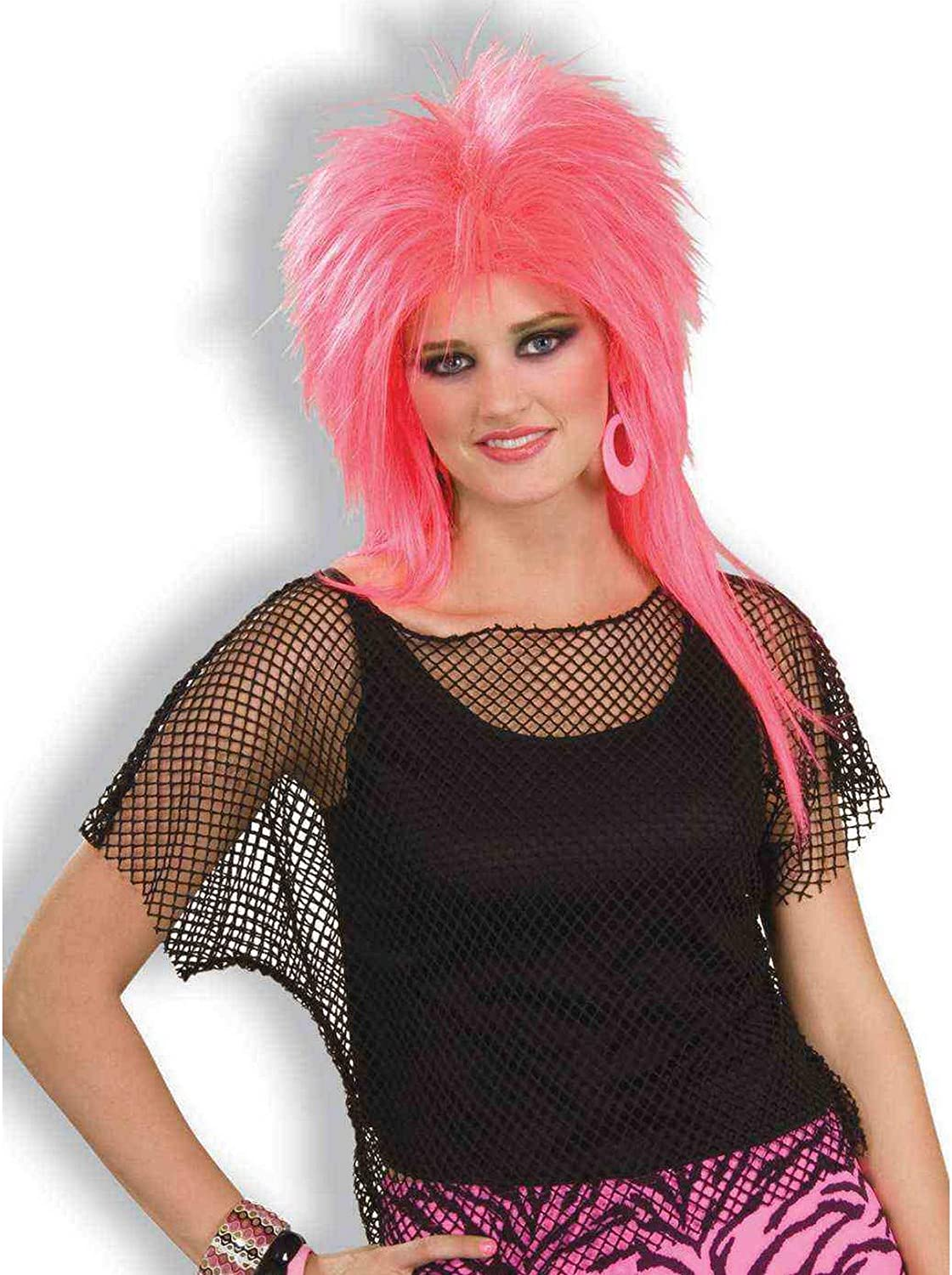 Woman/'s Rocker Pink Mesh Costume Top 80/'s Punk Style