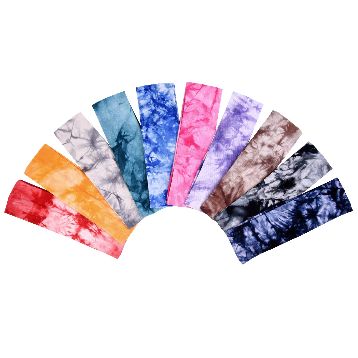 Tie Dye Headbands Cotton Stretch Headbands Elastic Yoga Hairband for Teens Girls Women Adults, Assorted Colors, 10 Pieces (Color Set 1) by eBoot