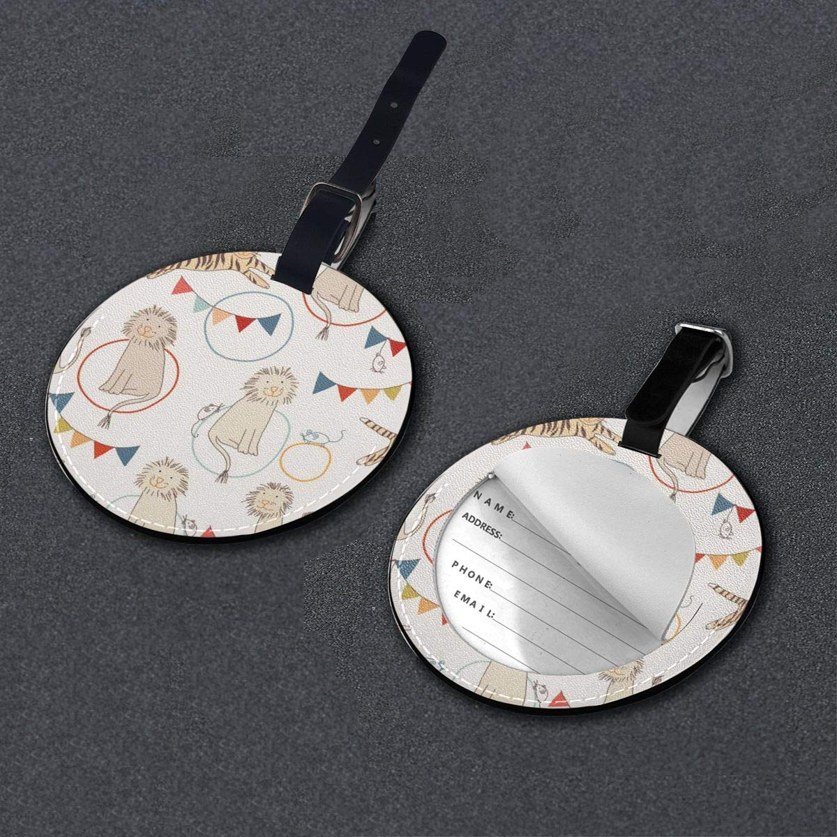Cute Lion And Tiger Luggage Tags Suitcase Luggage Tags Travel Accessories Baggage Name Tags 2 PCS