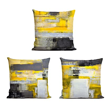 Amazon ArtKisser Grey And Yellow Throw Pillow Modern Abstract Awesome Grey And Yellow Decorative Pillows