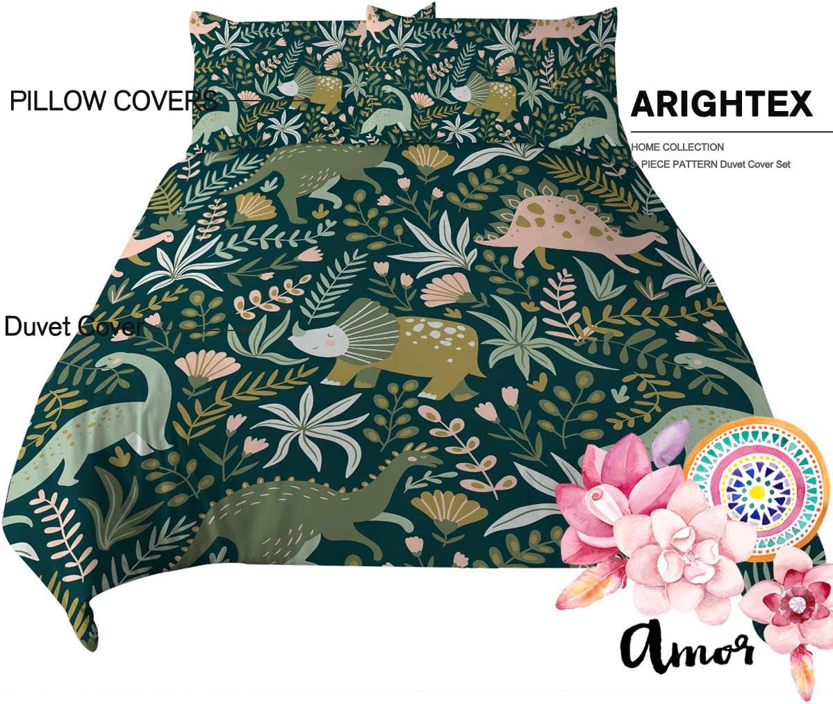 Queen ARIGHTEX Dino Bedding Cartoon Jungle Animals Christmas Llama Bed Set 3 Pieces Alpaca Dinosaur Flamingo Unicorn Duvet Cover
