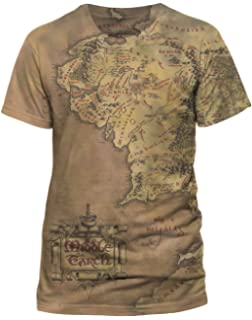 03bb387a Lord Of The Rings - Mens Middle Earth Map T-Shirt: Amazon.co.uk ...