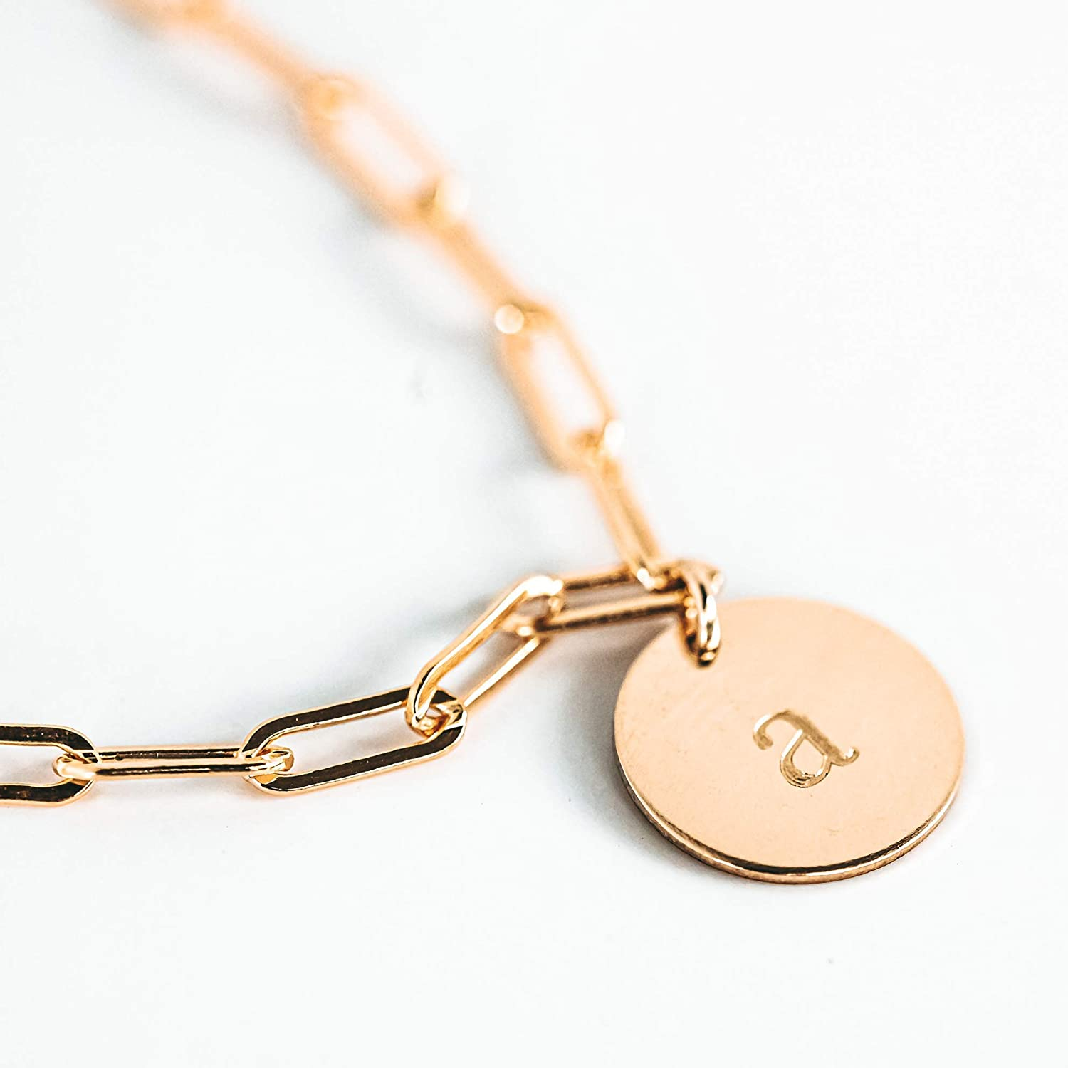 Paperclip Bracelet with Charm Adjustable Initial Bracelets for Women 925 Sterling Silver or 14k Gold Filled Paper Clip Chain Gift for Mom Wife