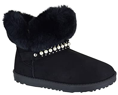 fcb362fa095 EYESONTOES Ladies Womens Flat Warm Winter Ankle Faux Fur Lined Snugg Hug Snow  Boots Size  Amazon.co.uk  Shoes   Bags