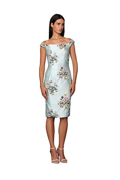 ROXCIIS AUSTRALIA RAIN Embroided Embossed Brocade Off Shoulder Dress Cocktail Dress