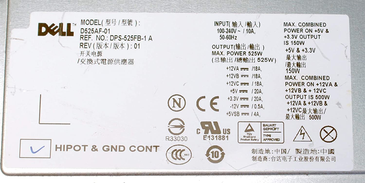D525AF-01 Genuine Dell M1J3H 525w Watt Power Supply PSU For Precision T3400 Systems Compatible Part Numbers: M1J3H Renewed 7JVXX